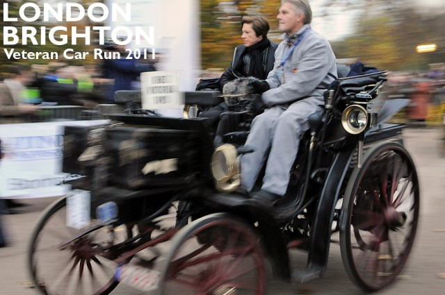 1893 Benz Viktoria, car #2, crosses the start line in Hyde Park